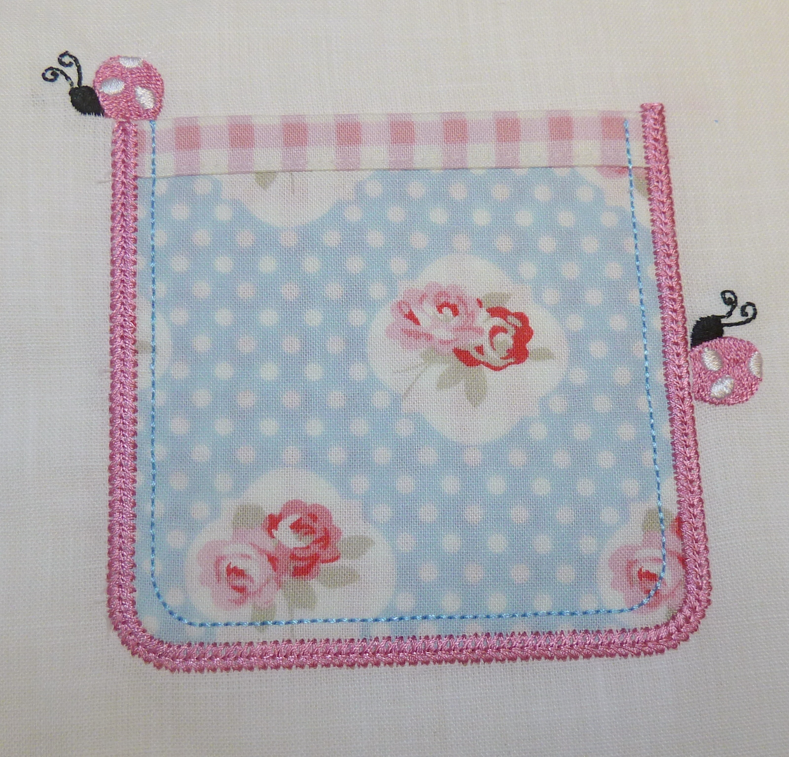 Applique Pocket with Ladybugs
