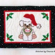 Christmas Dog Mug Rug
