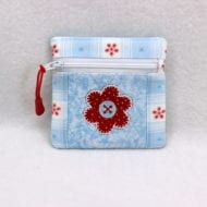 Zippered Applique Flower Coin Purse (5x7)