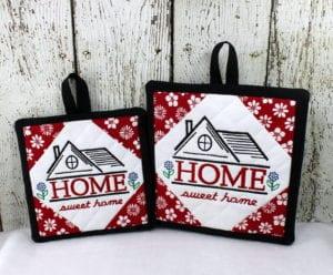 Home Sweet Home Potholders (6×6) (7×7)