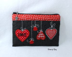 Heart Zippered Bag (6×10)