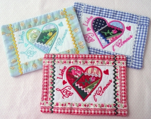 Crazy Patch Heart Mug Rug 5×7. Product Categories:In the Hoop ...