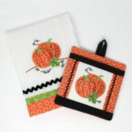 Pumpkin Applique and Potholder Combo