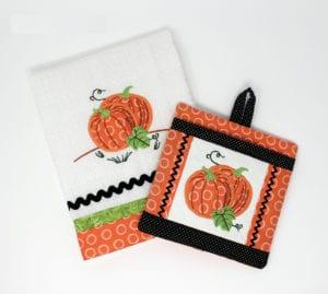 Pumpkin Applique and Potholder Combo