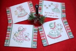 Christmas Bonnet Mug Rugs (5×7)