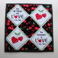 Heart Cherries Mini Quilt (7x7)