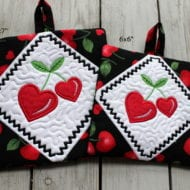 Heart Cherries Potholders (6x6 & 7x7)